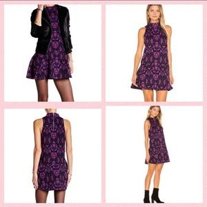 free people high neck purple retro mini dress S